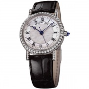 Breguet Classique Mother of Pearl Dial 18kt White Gold Diamond Black Leather Ladies Watch  8068BB52964DD00
