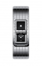 Chanel Black Lacquered Dial Ladies Diamond Watch H5145