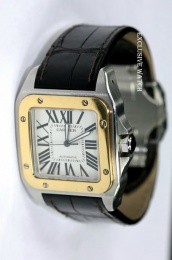 Cartier Santos 100 Mens 18kt Rose Gold and Steel w20072x7