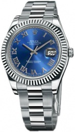 Rolex DATEJUST II STEEL AND WHITE GOLD 116334 blue dial Roman numerals