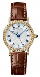 Breguet Classique Mother of Pearl Dial 18kt Yellow Gold Diamond Black Leather Ladies Watch  8068BA52964DD00